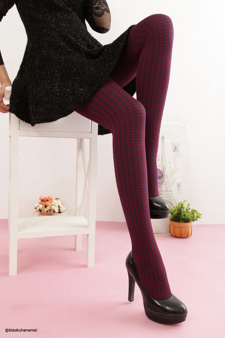 Houndstooth check color tights (red) JPY630-