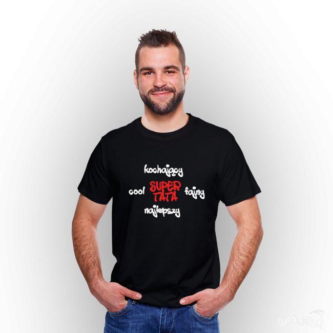 T-shirt męski z nadrukiem Dzień Taty 8  #tshirt #męski #men #tata #dzieńojca #supertata #nadruk #koszulka #czarna #tshuttle #cool #fajny #najlepszy #kochający #prezent