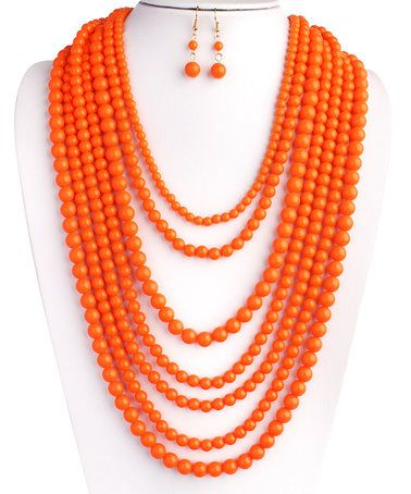 Coral Layered Bubble Statement Necklace & Drop Earrings #zulily #zulilyfinds
