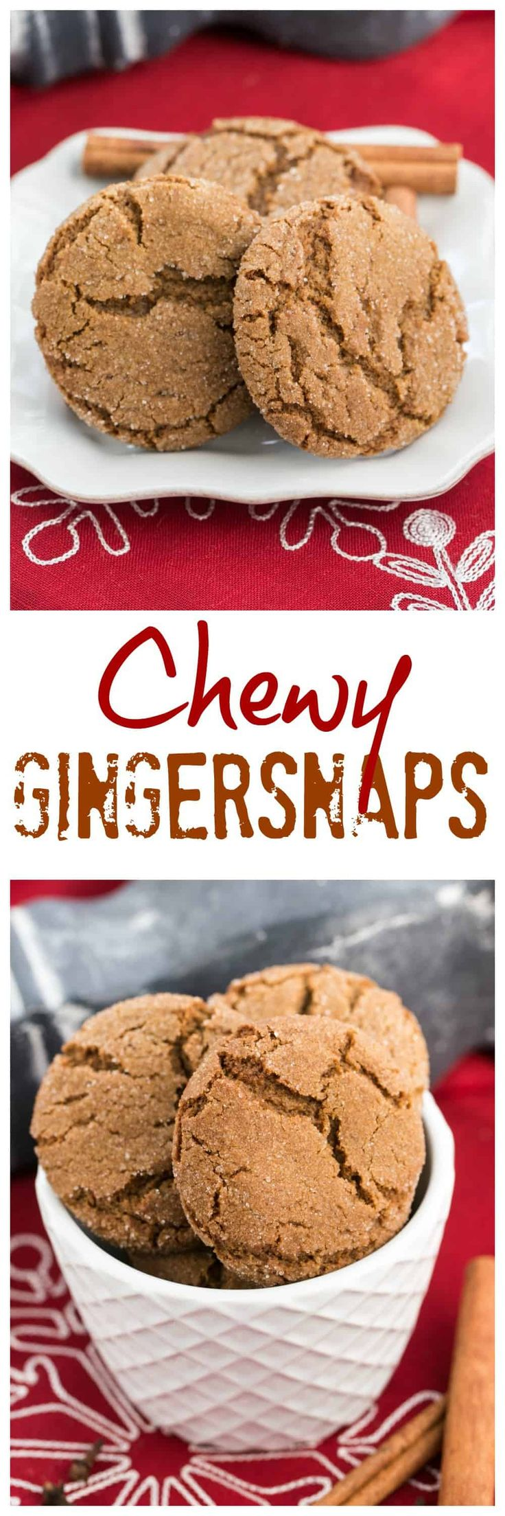 Chewy Gingersnaps | Soft, crinkled cookies spiced with ginger, cinnamon and cloves. Perfect for the holidays! #holidaybaking #gingersnaps #gingercookies