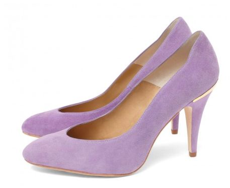 CLEO B 'Jazz' soft suede lilac court shoe with unique gold heel detailing. #sea #monsters #summer #collection #beatles #inspired #lilac #suede #gold #heels #fashion #designer #london #style #jazz