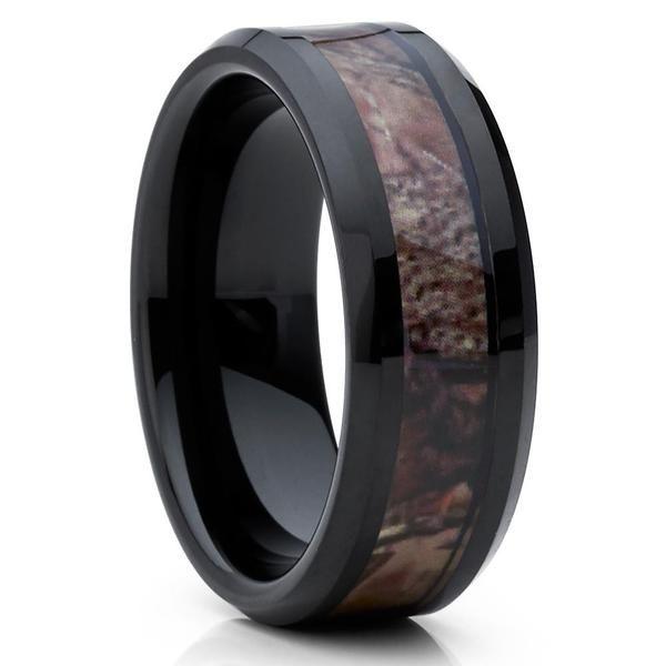 Camo Tungsten Ring,Black Tungsten Band,Tungsten Carbide,8mm,Black,Camouflage