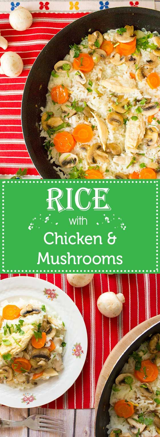 Rice with chicken, mushrooms, carrots and lots of parsley on top.