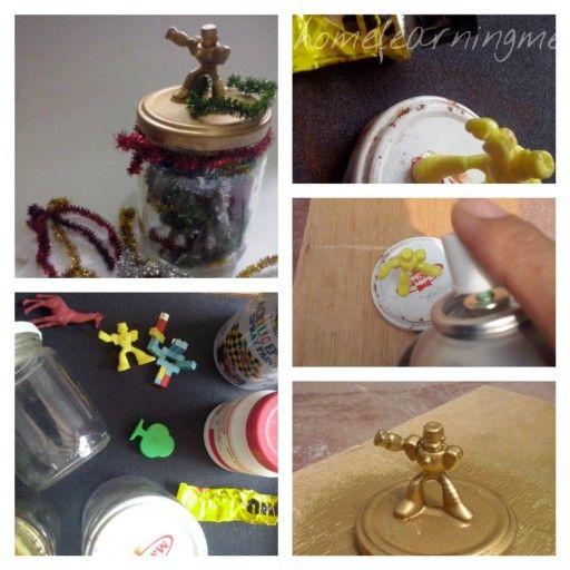 #DIY # recycle #glass jar #robot top #gift