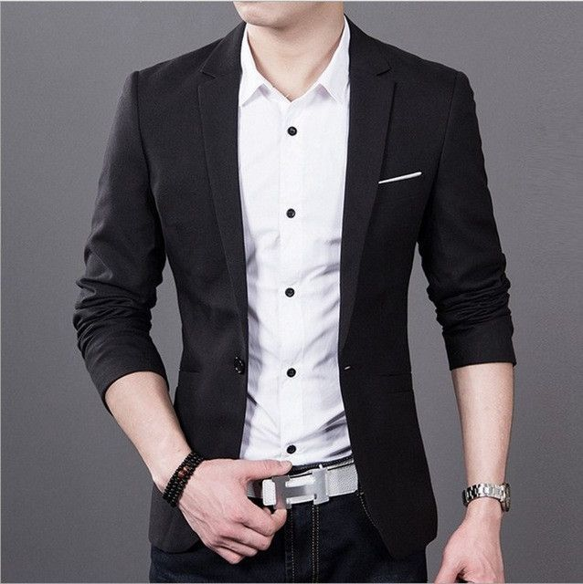 Men's Fashion Casual Suit Jacket Groom Wedding Suits for Men Dress Blue and Black After The Slits