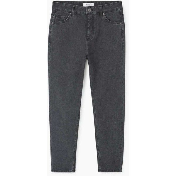 MANGO Mom relaxed jeans (€35) ❤ liked on Polyvore featuring jeans, 5 pocket jeans, high waisted cropped jeans, highwaist jeans, high rise cropped jeans and zip jeans