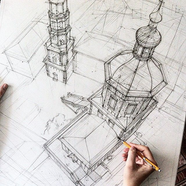 sketch dibujo arquitectónico, increíble perspectiva desde arriba