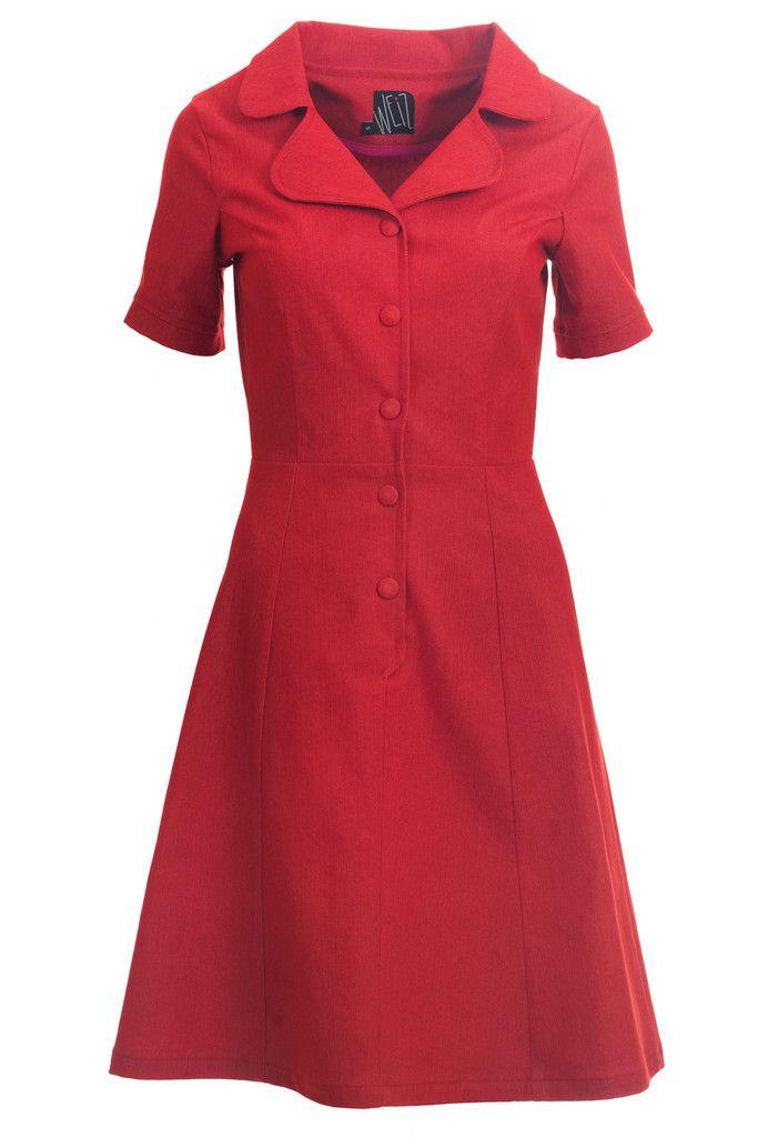Retro inspired red denim Loretta dress. I'm in love.