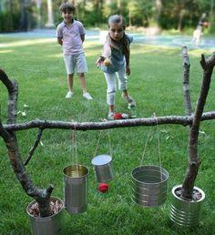 Kinderspiel für Draussen zum selber machen *** Spiel aus Ästen und Konservendo…