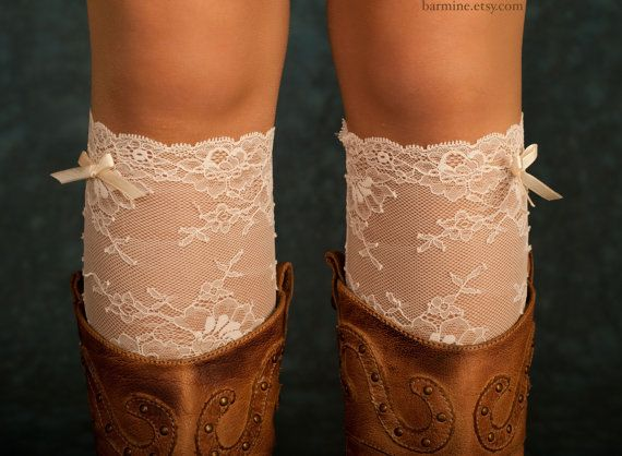 Lace boot cuff lace boot sock Lace leg warmers Womens by barmine