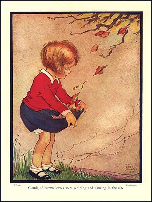Vintage 1930s Storybook Illustration Print, Little Girl Gathers Autumn Leaves by Marsh Lambert