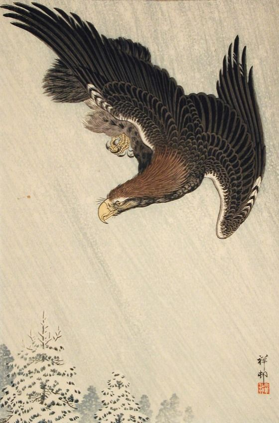 Eagle Flying in Snow Ohara Shōson (Koson) (Japan, 1877-1945) Japan, 1933 Prints; woodcuts Color woodblock print Image: 14 3/16 x 9 1/2 in. (36.04 x 24.13 cm); Sheet: 15 7/16 x 10 7/16 in. (39.21 x 26.51 cm) Gift of Chuck Bowdlear, Ph.D., and John Borozan, M.A. (M.2000.105.138) Japanese Art