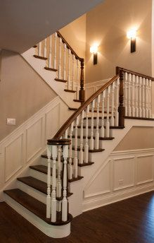 wainscoting stairs - notice wall below stairs too