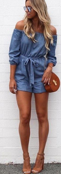 #fall #kookai #australia #outfits | Chambray Playsuit