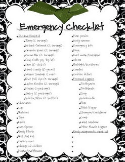 emergency checklist includes a place to write who is responsible for grabbing what