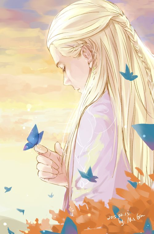 """Legolas"""" """"I have no siblings. Nor am I betrothed."""" Eleniel: """"Is it lonely, at all?"""" Legolas: """"Yes...that's why I'm glad I found you."""""""