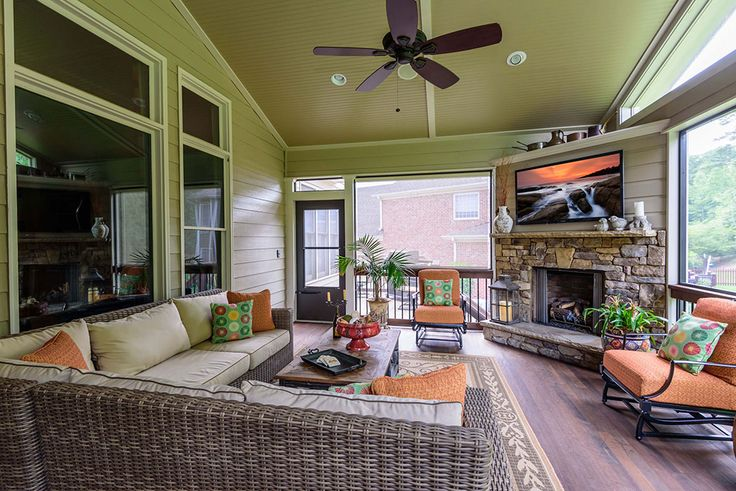 Add A Screen Porch With Fireplace Alpharetta Ad Amp B