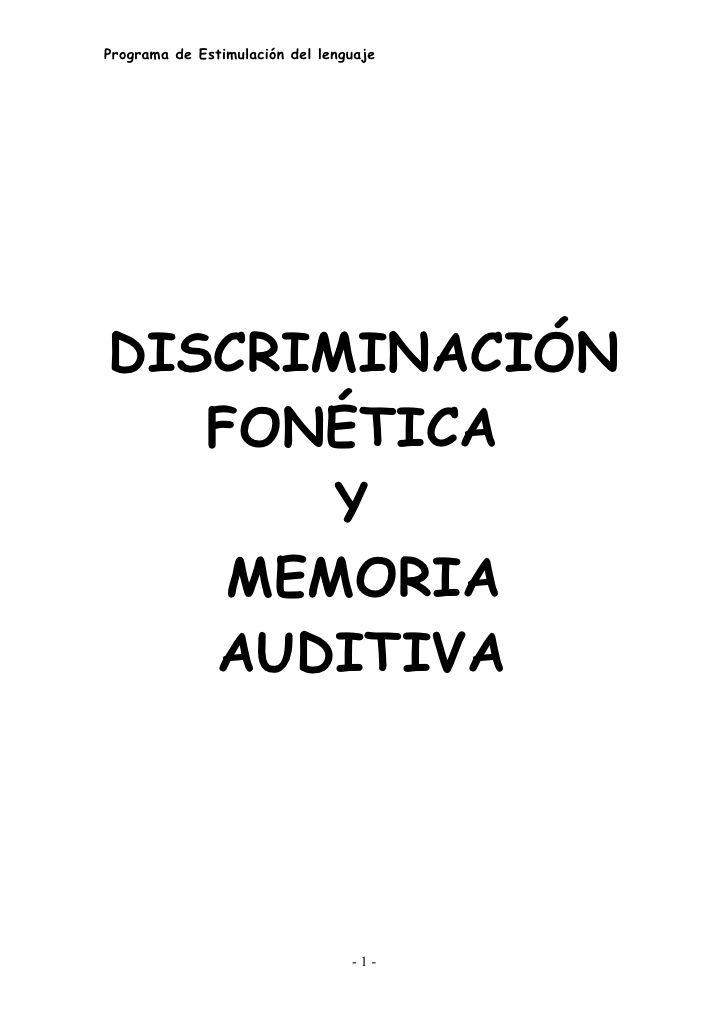 Actividades para la discriminación fonética y memoria auditiva PK-K