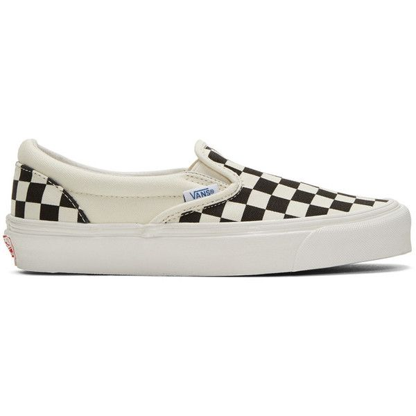 Vans Off-White and Black Checkerboard OG Classic Slip-On Sneakers ($60) ❤ liked on Polyvore featuring shoes, sneakers, black and white slip on sneakers, pull on sneakers, slip-on sneakers, low top and low profile sneakers