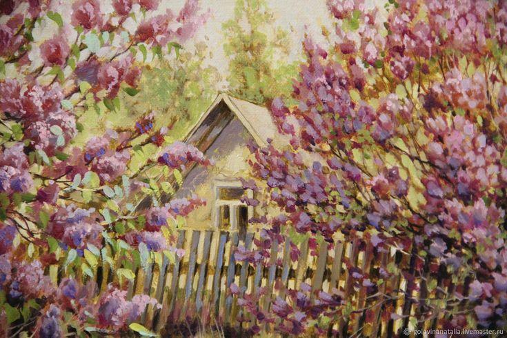 Купить Картина маслом, Сиреневый сад в интернет магазине на Ярмарке Мастеров