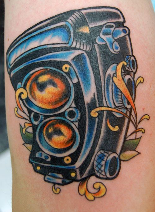 Old School And Retro Tattoos Designs: Vintage Camera Tattoo Design ~ tattooeve.com Tattoo Design Inspiration