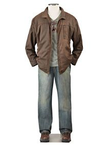 Brown leather jacket over a great pair of denim blue jeans is classic men's look.  #nycfitnessfamilyfinds