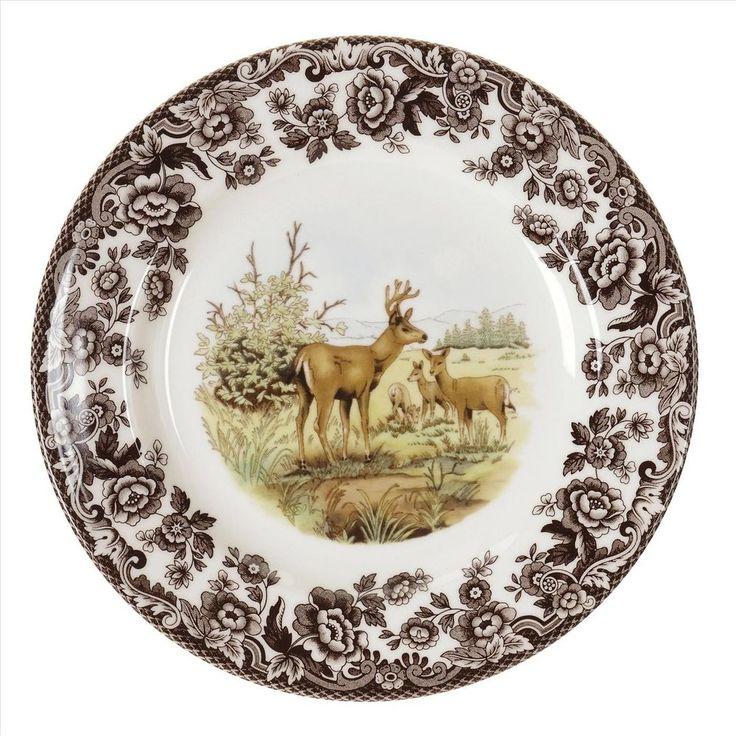 New Spode Spode Woodland American Wildlife Salad Plate (Mule Deer) #Spode