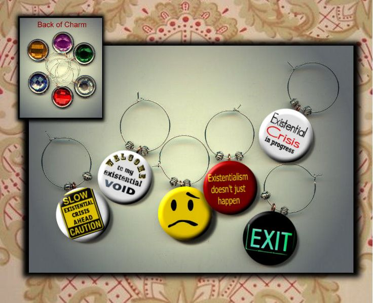 Existentialsim Existential Crisis Sociology Set of six 6 photo Cabochon WINE Glass Charms w/ Rhinestone by Yesware on Etsy