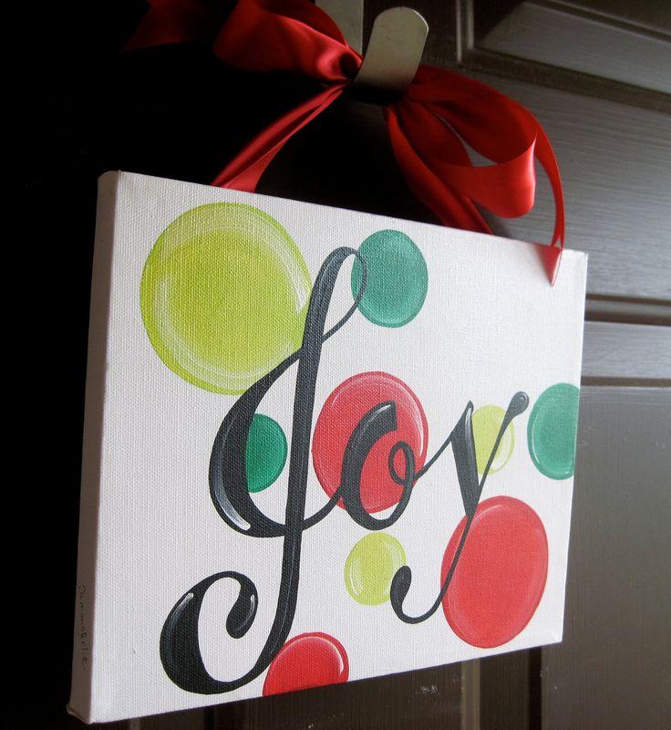 Joy Christmas Canvas Sign. $30.00, via Etsy.