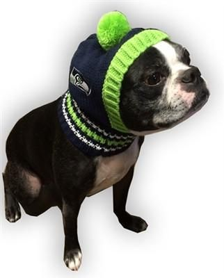Seattle SEAHAWKS NFL Official Licensed Ski Hat for Dogs in color Blue/Green - Daisey's Doggie Chic