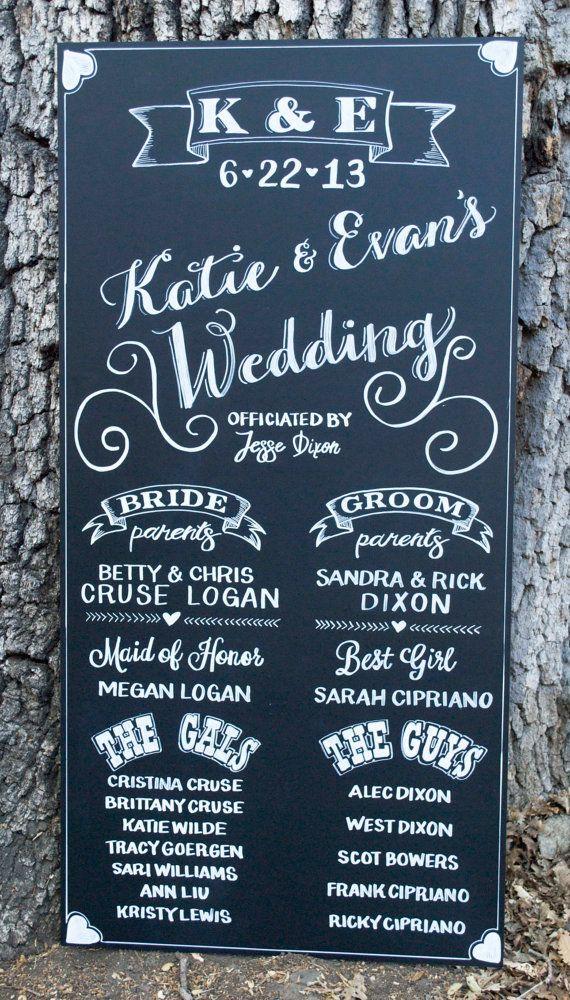 Customizable Wedding Ceremony Program // Hand Drawn Chalkboard // Artwork by Mystics and Mint via Etsy