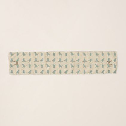 #Funny Mint Cats Pattern Monogrammed Scarf - #cute #gifts #cool #giftideas #custom