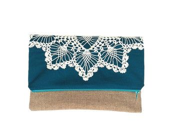 Vintage Lace Doily Zipper Clutch by JuneberryStitches on Etsy