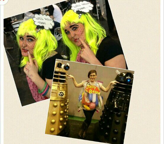 Me MCM Comic con Birmingham 2015.  Pop art costume with make up, and jelly bean sweet bag fancy dress outfit. Fab ideas for Halloween.