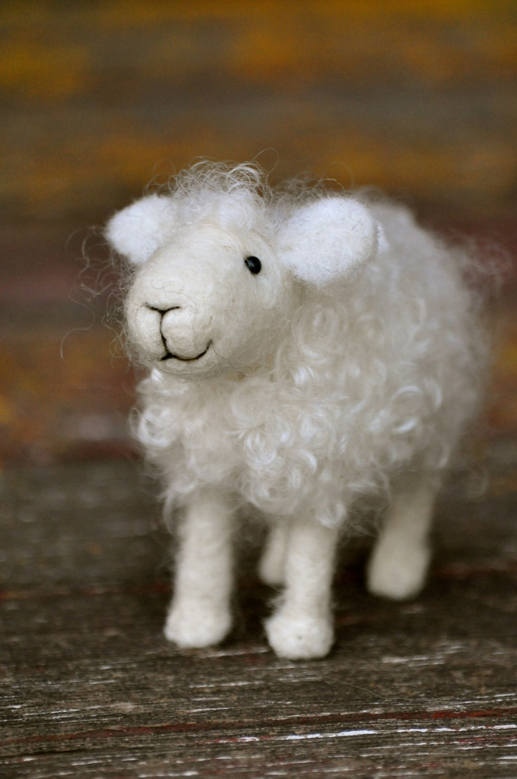Needle Felted Wool Sheep Sculpture.