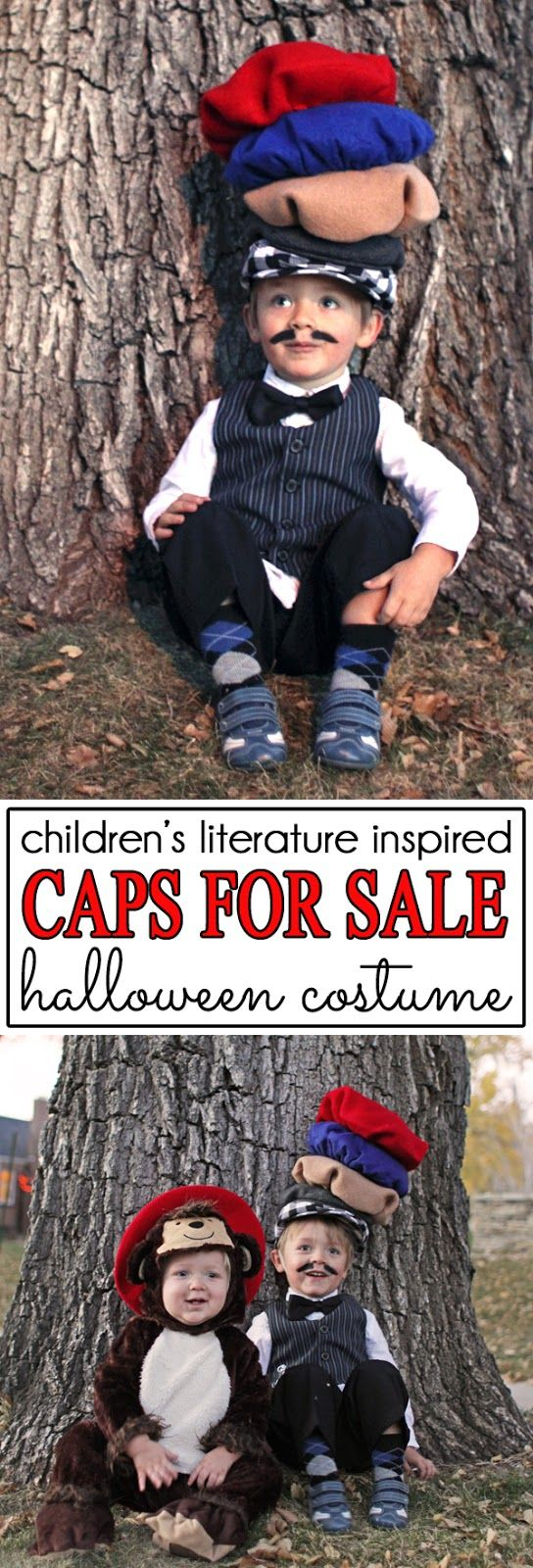 Caps! Caps for Sale! This children's literature inspired Halloween costume had big brother as the peddler who sells caps and carries them on top of his head and little brother as one of monkeys who steals the peddlers caps. The perfect Halloween costume for brothers who love this classic children's book.