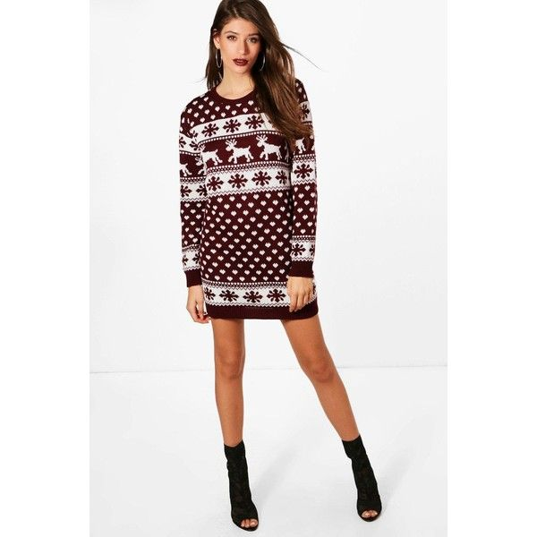 Boohoo Lottie Reindeers & Snowflake Christmas Jumper Dress (300 SEK) ❤ liked on Polyvore featuring dresses, white dress, night out dresses, sequin dress, white wrap dress and white knit dress