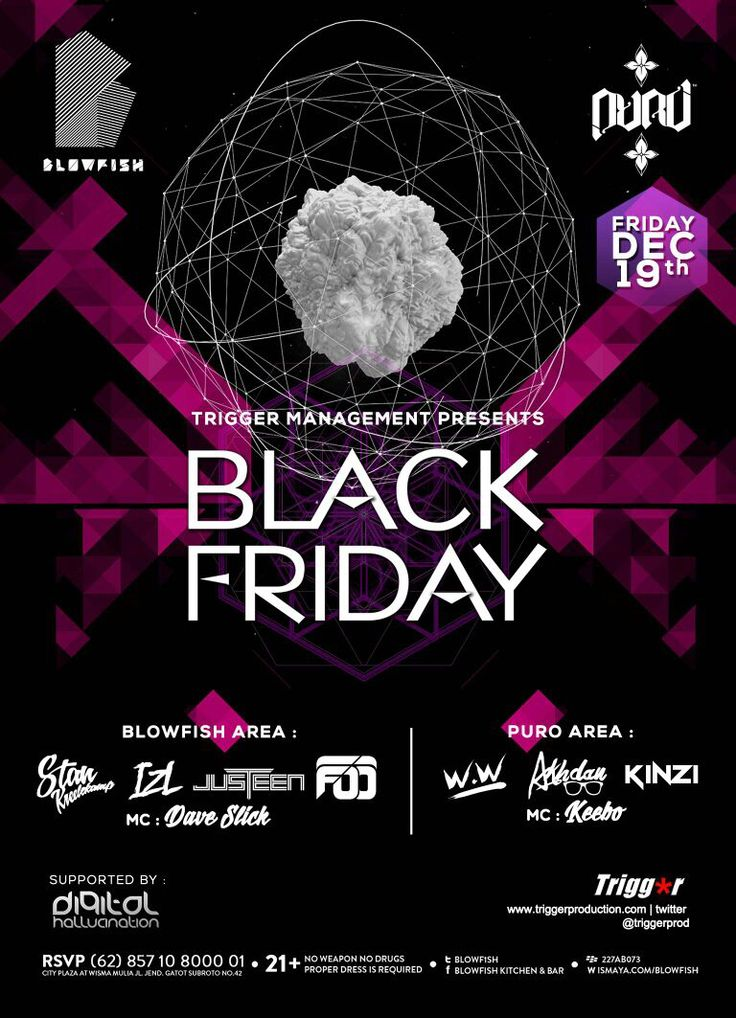 TONIGHT @BLOWF1SH #BLACKFRIDAY by @TriggerJKT @StanKreelekamp @Dave_Slick  @DJ_wW @djakhdan @KINZImoningka @KEEBOmic and many more. Spread the word, cant stop wont stop!