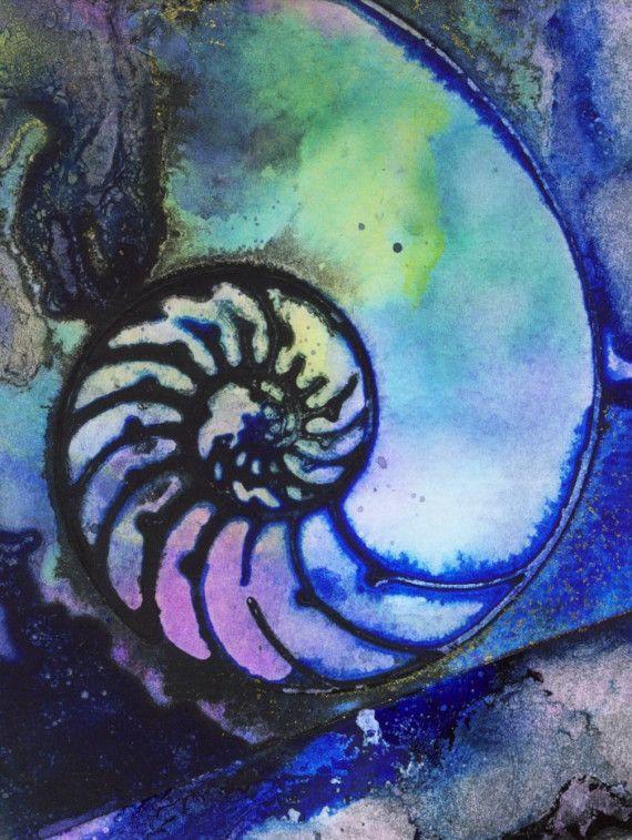 NAUTILUS SHELL 44 Original Contemporary Modern sea art painting FRAME READY EBSQ