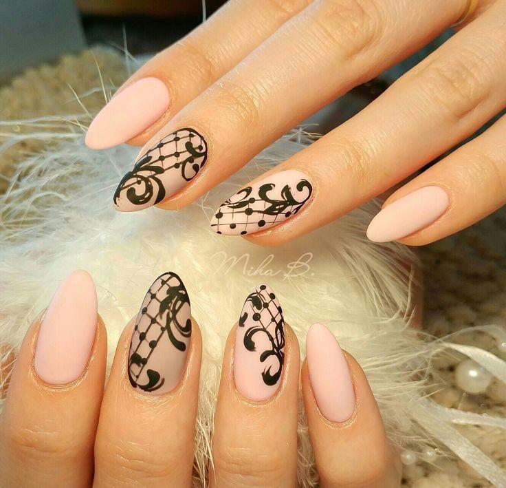 Pink nails,matte nails, lace nail art
