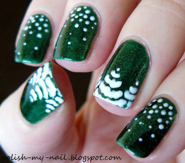 Snowy trees by ewlyn #nails #nailart #nailpolis
