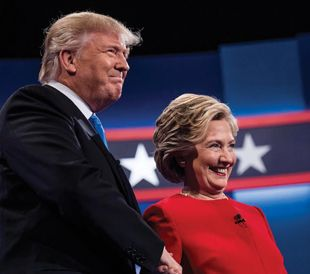 Donald Trump and Hillary Clinton after their first presidential debate at Hofstra University in Hempstead, N.Y.  photo/the washington post via getty images-melina mara