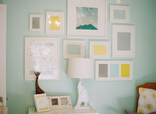I love the use of different size picture frames and the collage - everything is different but it comes together