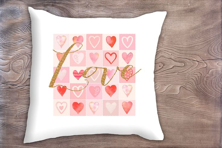 decorative pillow with red and pink hearts, Valentines gift, love in gold glitter, throw pillow, valentines, teenager birthday gift by saidthecrow on Etsy