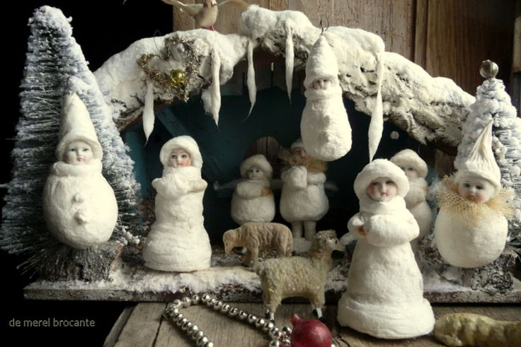 spun cotton snow maiden christmas decoration