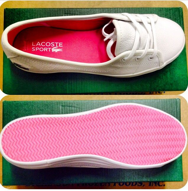 Loving the pink on the inside/outside on this Lacoste shoe...