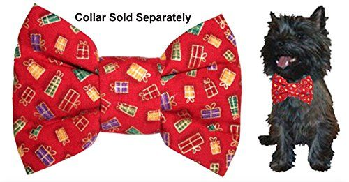 "Calvin K-nine Holiday Bowtie with Christmas Presents (S) 4"" wide *** Read more details by clicking on the image."