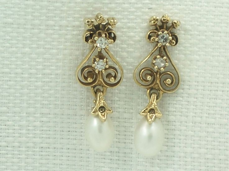 Estate Antique 14K Yellow Gold Pearl & Diamond Dangle Scroll Earrings