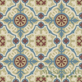 CUBAN CEMENT TILES  F884265-Amalia-02  D'Hanis Red, Brun Camois, Cafe, Blue
