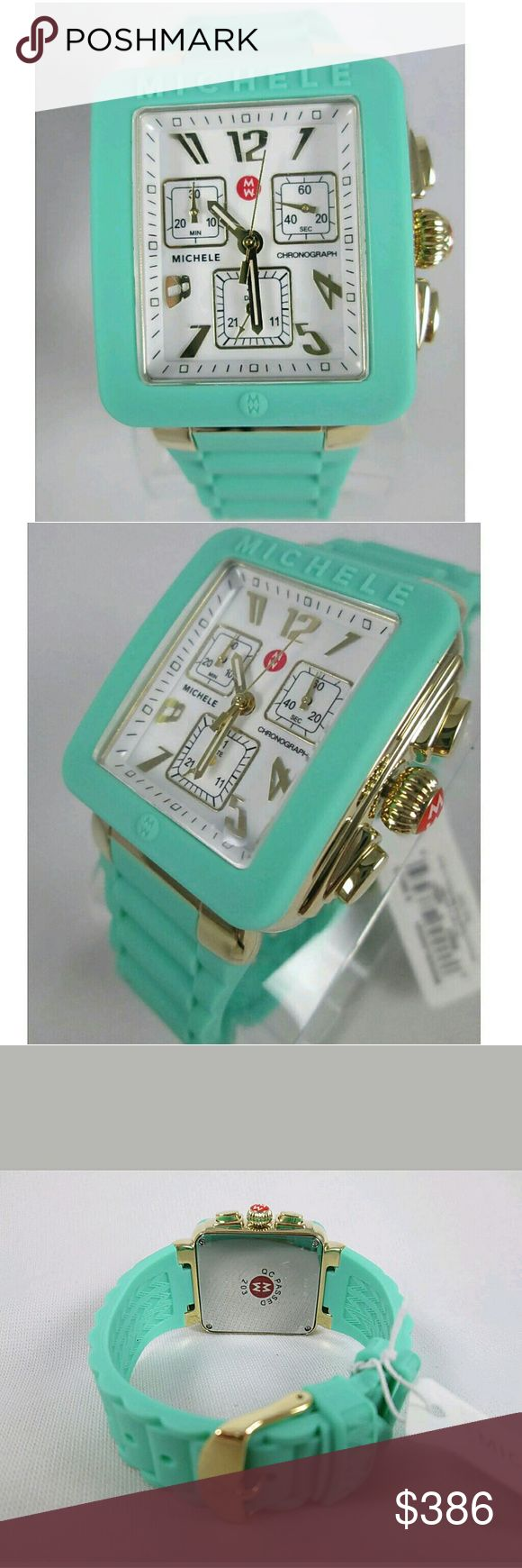 NWT Michele Seafoam and gold ladies watch Brand New In Box Michele Silicone Band ladies watch.   FRIM PRICE FIRM PRICE FIRM  $386.00 . AUTHENTIC WATCH  . AUTHENTIC BOX . AUTHENTIC MANUAL    SHIPPING  PLEASE ALLOW FEW BUSINESS DAYS FOR ME TO SHIPPED IT OFF.I HAVE TO GET IT FROM MY STORE.    THANK YOU FOR YOUR UNDERSTANDING. Michele  Accessories Watches